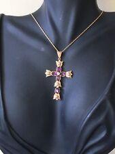 14ct.14K.585. Yellow Gold Amethyst & Diamond Cross & 21 Inch(53cm) Chain