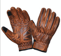 Men's Distressed Orange Motorcycle Gloves With DuPont™ Kevlar™ lined palm 8176