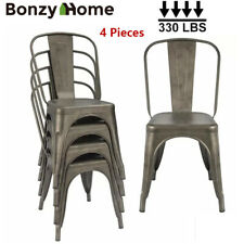 Gun Metal Dining Side Chairs Set Stackable Patio Garden Outdoor Chairs Set of 4