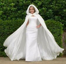 Winter White/Ivory Long Faux Fur Trim Wedding Bridal Cloak Flower Girl Cape Wrap