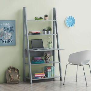 Ladder Bookcase Desk Shelving Shelf Unit Grey 5 Tier