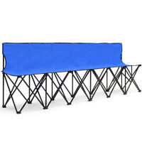 Outdoor Folding 6 Seats Chair Sideline Sports Bench W/Seat Back&Carry Bag Blue