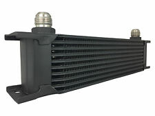 Black 10 row universal front mount oil cooler - AN10 7/8 14 UNF