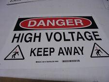 "Lot of 10 BRADY 43118 DANGER High Voltage Keep Away Signs w/Legend 10"" x 14"" NOS"