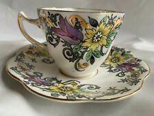 Vintage Rosina Bone China England Tea Cup Saucer 4983 Gold Gilt, NICE
