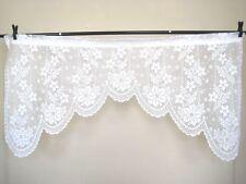 Curtain Lace Valance Floral Flowers Victorian Cottage Chic Vintage White 70W 36L