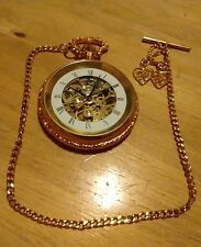 """Vtg Shenda Kuja Skeleton Pocket watch, with 10"""" chain, C"""