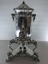 LARGE ANTIQUE EUROPE SILVER PLATE SAMOVAR HOT WATER POT URN COFFEE POT