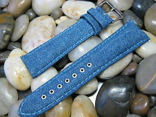 24 mm LP Blue Jeans Denim and Leather Watch Band strap! canvas distressed faded