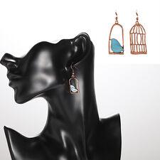 Fashion Novelty Design Asymmetric Bird and Birdcage Shape Women Dangle Earrings