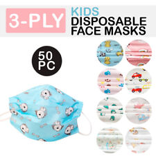 Child Disposable Face Mask 3 Ply Ear Loop Protective Cover 50 Pk Kid Toddler