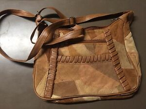 Camel Suede  Whipstitch Purse  New