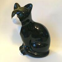 Cat Figurine ELPA Alcobaca Vintage Portugal Black White w Green Acrylic Eyes
