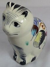 """vintage Tonala Mexican pottery signed sitting cat w/floral pattern 5 5/8"""" tall"""