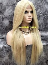 Human Hair Blend Long Layered Straight Light Blonde Mix Lace Front Full Wig