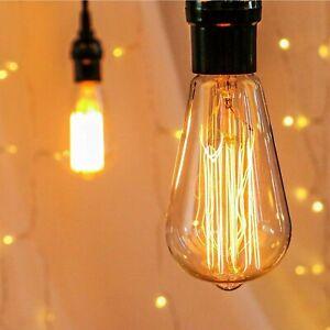 B22 Bayonet Edison Vintage Light Bulbs Filament Style Squirrel Cage 60W Amber