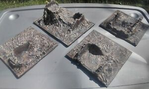 Four painted ruined buildings for wargaming 1/72 20mm