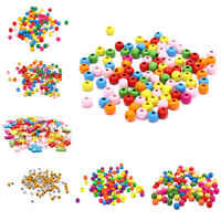 100x Multicolor Spacer Wood Beads Round Wooden Beads for Baby Jewelry Making YK