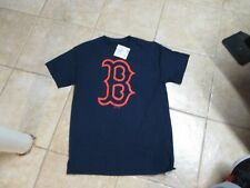 """BOSTON """"RED SOX"""" T SHIRT (MED) NWT $25 NAVY BLUE BY MAJESTIC W/B LOGO COOL"""