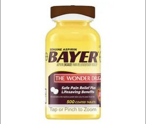 Genuine Bayer 325mg. Aspirin, 500 Coated Tablets Exp:08/2022