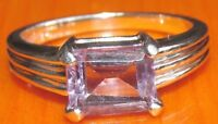 SECONDHAND 9ct WHITE GOLD EMERALD CUT AMETHYST RING SIZE N