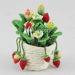 1:12 Scale Dollhouse Decoration Miniature Flower Colorful Gorgeous Strawberries