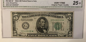 **STARNOTE-1934A $5 Federal Reserve Note-VERY FINE 25- original Paper Quality