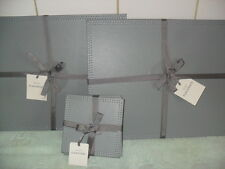 Grey  Faux Leather  Table Place Mats and Coaster Set   x 4 BNIB