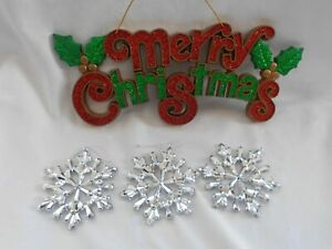 Christmas Decorative Merry Christmas Banner + 3 tree hanging Jewel Snowflakes