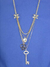 Betsey Johnson Skeleton Key Peace Heart Layer Necklace