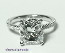 1.40 ct GIA G IF cushion cut diamond engagement micro pave antiqe ring platinum
