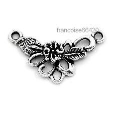 5 Connecteurs entre-deux Fleur arg 26x16mm Perles apprêts création bijoux _ A350