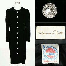 80s Vtg Oscar De La Renta Black Velvet Dress Size 16 Long Sleeve Crystal Buttons