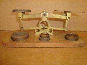 Vintage Postage Scales 1950's Made by Young Atom  with 4 Weights  Metal scales o