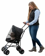 Folding Travel Pet Stroller Small Cats Dogs Carrier Jogger Large 4 Wheels Black
