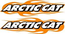 "Arctic cat snowmobile flame 2 sticker decal set orange  5.5"" x 22"" each"