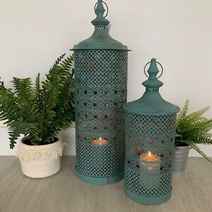 2 x Teal Blue Large Garden Metal Lanterns Moroccan Vintage Style