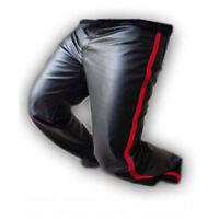 Uomo Biker Jeans Nera Vera pelle di Mucca uno Inserto Polizia Stile Pantaloni