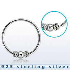 """22Ga 5/16"""" Balinese Wire Design Fixed Ball Center .925 Sterling Silver Nose Hoop"""