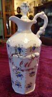 Antique Victorian Era German Porcelain Oel (Oil) Cruet Bottle w/Original Stopper