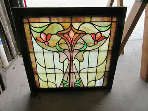 ~ COLORFUL ANTIQUE STAINED GLASS WINDOW ~ 30 x 28.5 ~ ARCHITECTURAL SALVAGE
