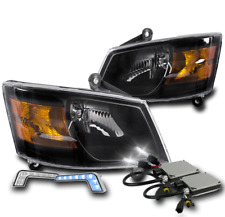 2008-2010 DODGE GRAND CARAVAN REPLACEMENT BLACK HEADLIGHTS +BLUE LED DRL +6K HID