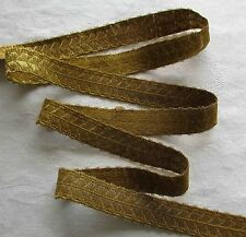 Vin. Gold Metallic Trim Stylized Leaf on Branch Design Warm Patina French