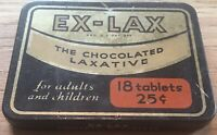 Vintage Ex-Lax The Chocolated Laxative Tin, Black Gold 18 Tablets Container