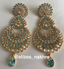 Bollywood Style Turquoise And Gold Earrings