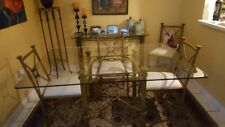 "Dining set, brass frame with glass top 63""X43"" w/6 chairs and accent table"