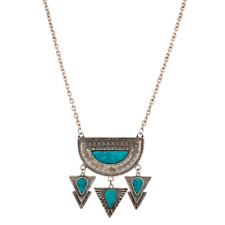 Lux Accessories Turquoise Tribal Statement Necklace