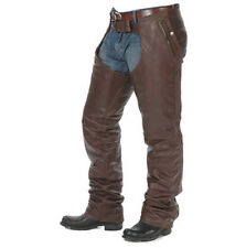 LARGE SIZE MENS BROWN LEATHER MOTORCYCLE CHAPS WITH STRETCHABLE THIGH