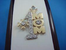 #1 MOM LARGE DIAMOND PENDANT WITH 0.75 CT GENUINE DIAMONDS,6.6 GRAMS, 1 X 1 INCH