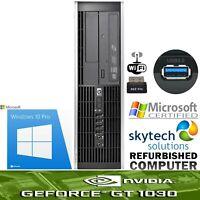 Fast HP Gaming Computer Intel 3rd Gen i3 6GB 500GB Geforce GT 1030 2GB Win 10 PC